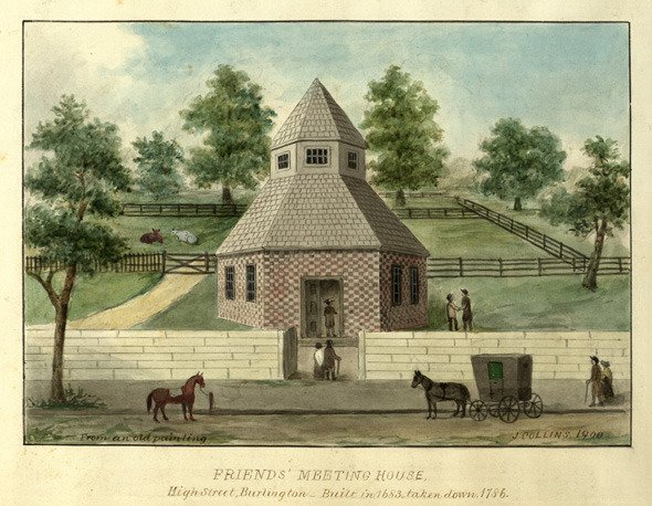 Watercolor of the 1683 octagonal meeting house in Burlington, copied from an old painting in 1900