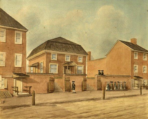 Watercolor sketch of the 1703 meeting house on Front Street above Arch in Philadelphia by Watson