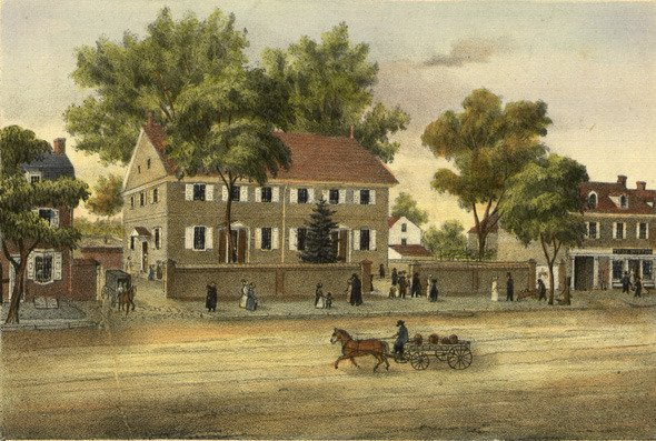 Lithograph of the meeting house at Burlington, from a drawing by John Collins, 1847