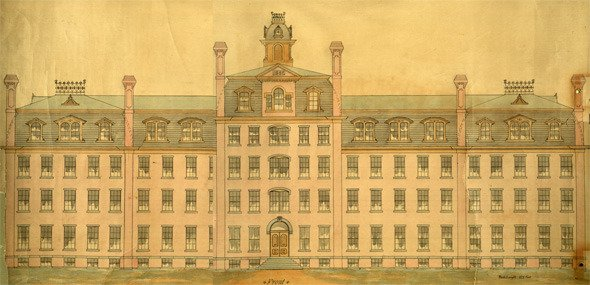 Watercolor Sketch of Parrish Hall, Swarthmore College, dated about 1880