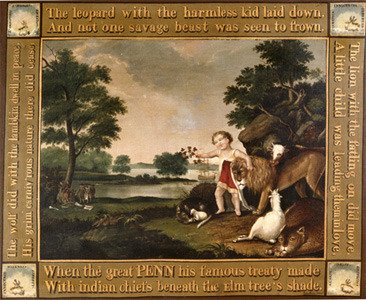 "Original painting by Edward Hicks, ""The Peaceable Kingdom"""