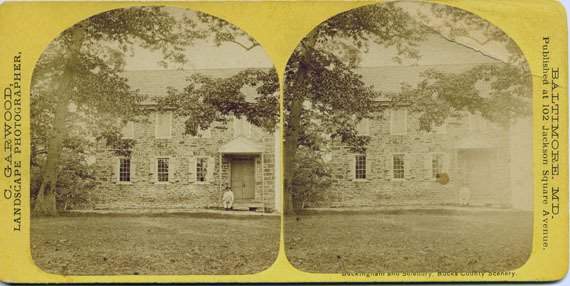Stereo card of a house in Bucks County, Pennsylvania