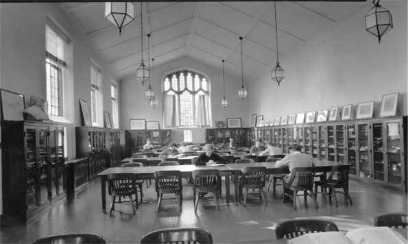 Photograph of the interior of Friends Historical Library, mid 20th century