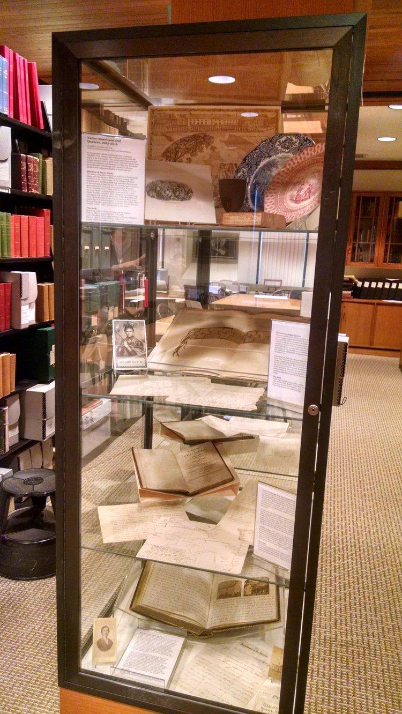 Exhibit case full of material