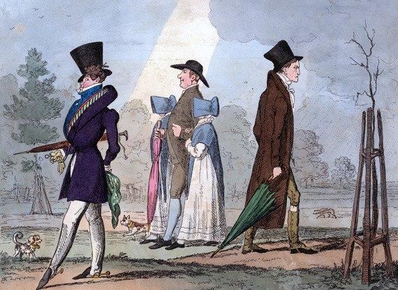 "English satirical engraving,""Premium Par & Discount,"" by George Cruikshank in 1822"