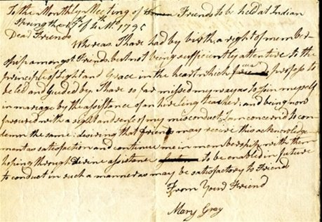 Manuscript copy of the acknowlegement of Mary Gray to Indian Spring Meeting, 1795