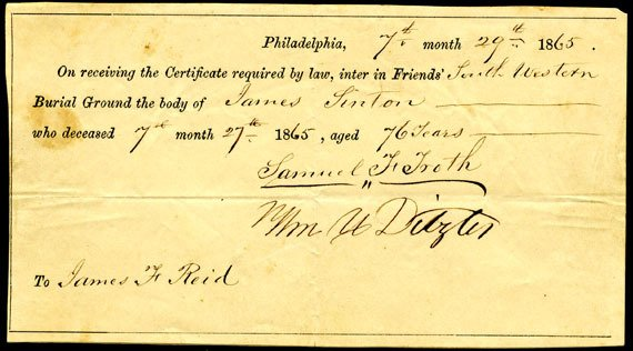 Interment certificate of James Linton in Philadelphia in 1865