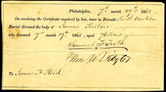 Interment certificate of James Linton in Philadelphia in 1865