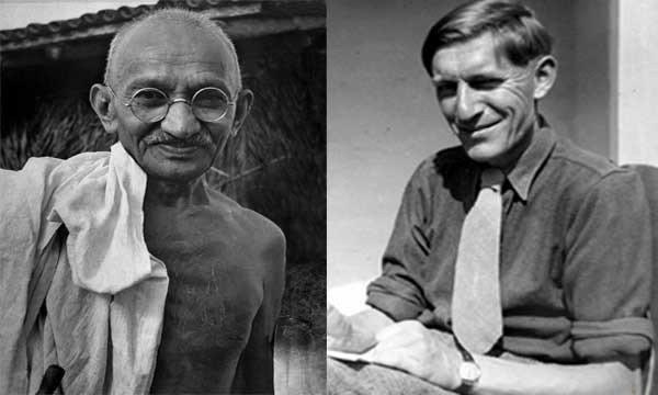 Photograph of Mahatma Gandhi and Reginald Reynolds