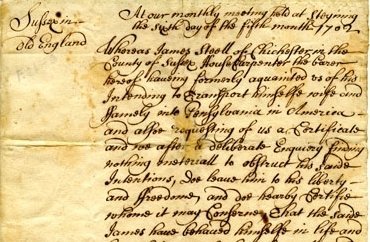 Manuscript removal certificate of James Steel from England to Pennsylvania in 1702