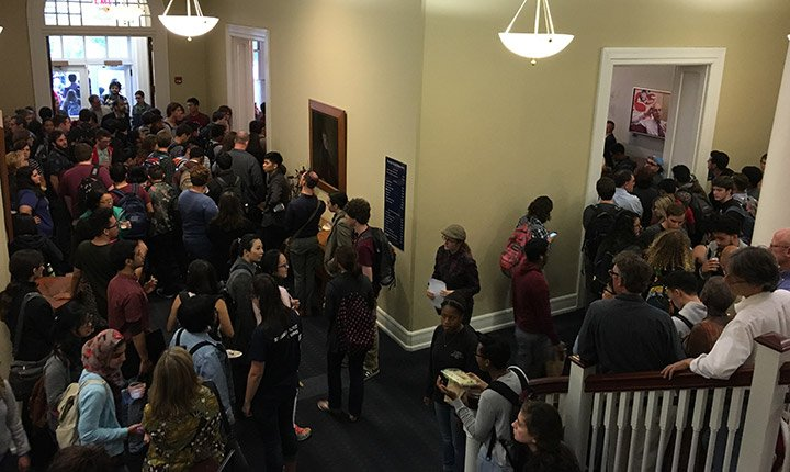 Crowd in the hallways