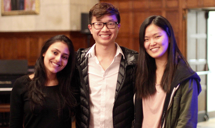 Michelle Kim ('20), David Chang ('20), and Riya Phillip (BMC)