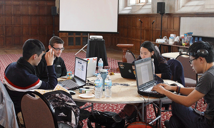 Students working on computers in Thomas Great Hall