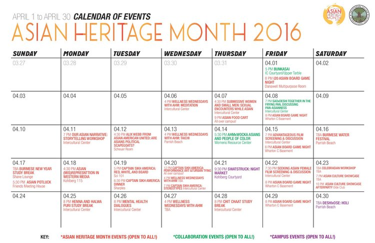 Asian heritage month calendar of events for 2016.
