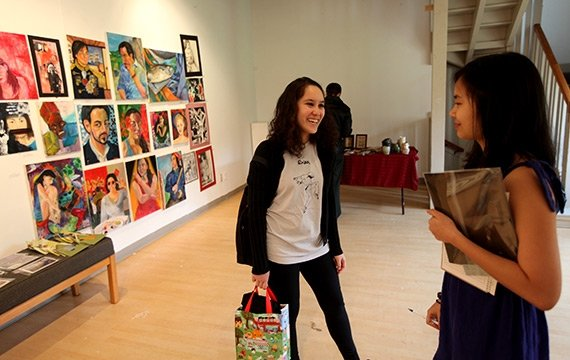 A student art show hangs in Kitao Gallery