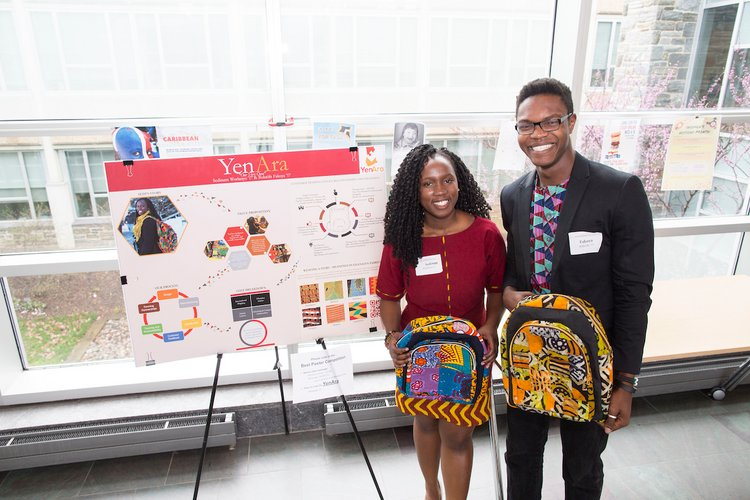 Sedinam Worlanyo '17 and Bolutife Fakoya '17 of YenAra, the 2016 SwatTank winners