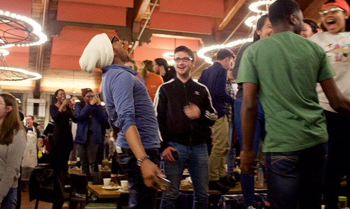 Students let loose during the primal scream at midnight
