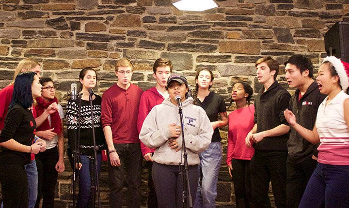 An a cappella group performs