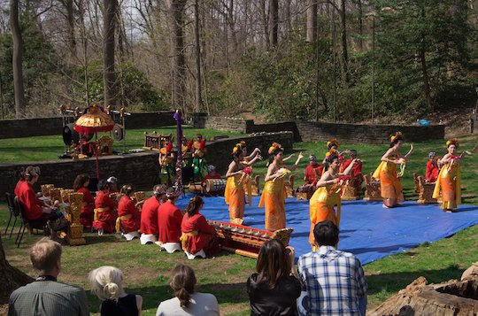 Swarthmore's Gamelan Semara Santi performs with dancers from the Indonesian Cultural Club of Delaware in Scott Amphitheater (April 2014)