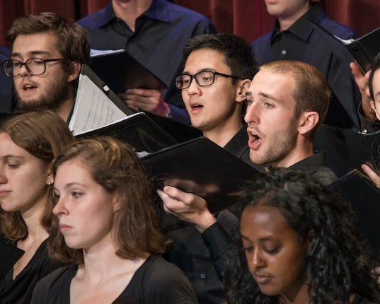 A group of tenors in the Swarthmore College Chorus.