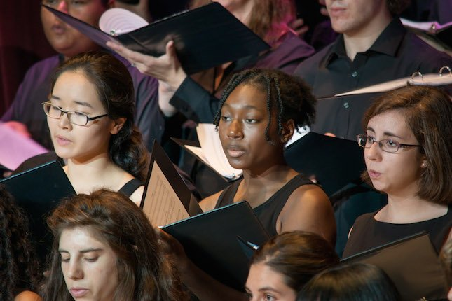 Members of the Swarthmore College Chorus sing.