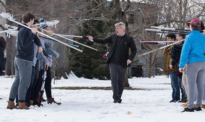 Professor Morton readies students for battle