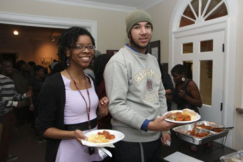 Students at the annual SASS Thanksgiving dinner.