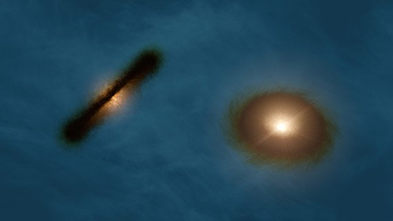 This artist's impression shows a striking pair of wildly misaligned planet-forming gas discs around both the young stars in the binary system HK Tauri. ALMA observations of this system have provided the clearest picture ever of protoplanetary discs in a double star. The new result demonstrates one possible way to explain why so many exoplanets — unlike the planets in the Solar System — came to have strange, eccentric, or inclined orbits.