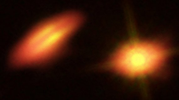This image of the binary system HK Tauri combines visible light and infrared data from the NASA/ESA Hubble Space Telescope with new data from ALMA. The ALMA observations of this system have provided the clearest picture ever of protoplanetary discs in a double star.