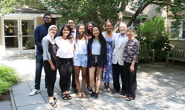 Chester Community Fellows stand in front of Lang Center