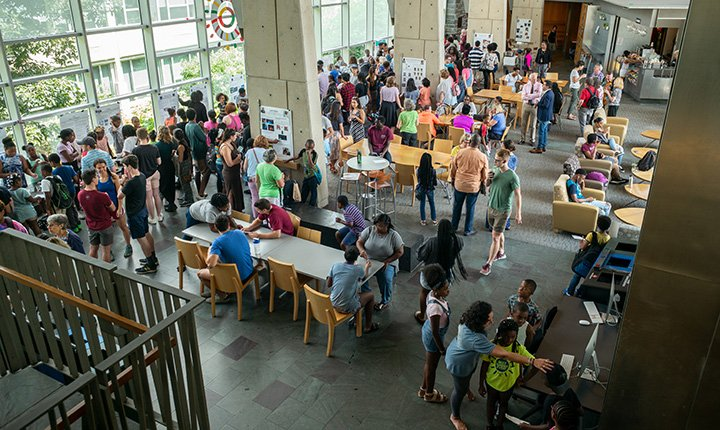 Wide shot of fair in Science Center commons