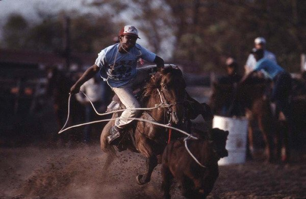 Roping competion at a small rodeo outside Dallas.