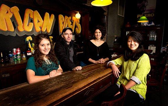 Aileen Eisenberg '15, Daniel Gallant '98, Katie Goldman '14, and Sabrina Singh '15
