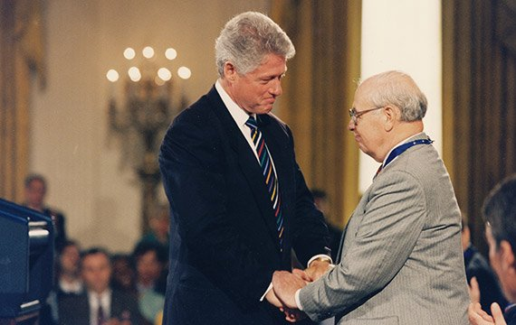 Eugene Lang '38 and Bill Clinton