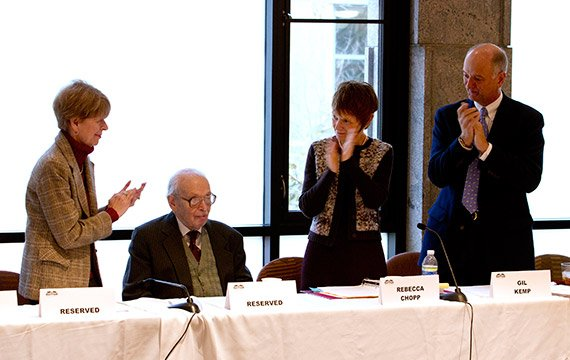 Jane Lang '67, Eugene Lang '38, President Rebecca Chopp, and Board Chair Gil Kemp '72.