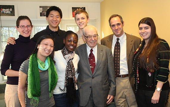 Eugene Lang '38 and lang scholars