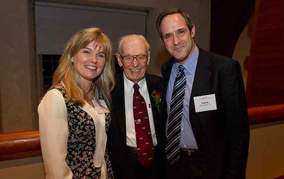 Eugene Lang with Barbara Klock '86 and Salem Shuchman '84.
