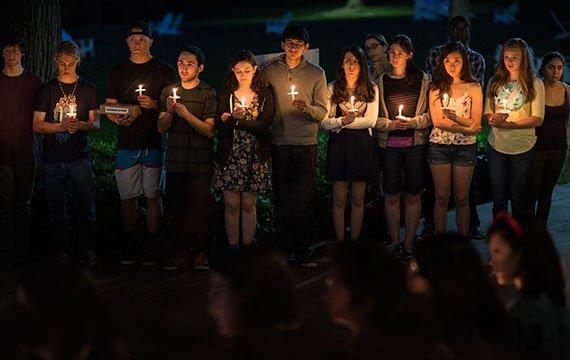 Students at Candlelight Vigil