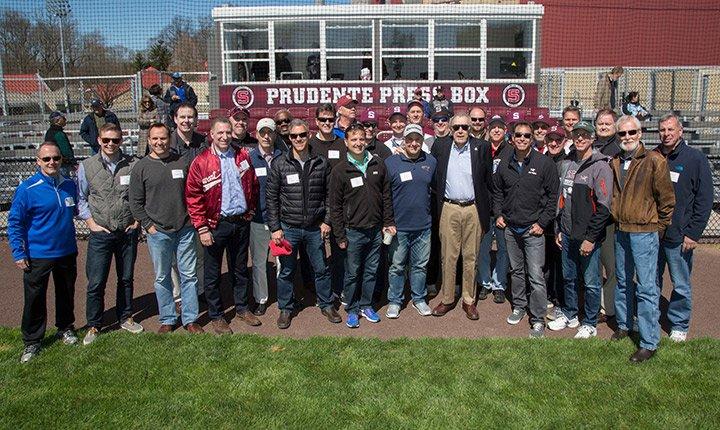 Garnet baseball alumni with coach Ernie Prudente.