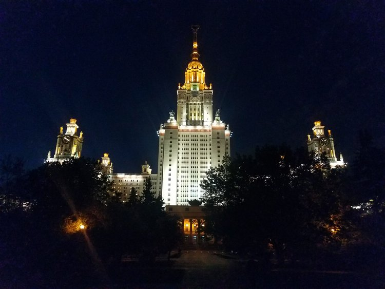 Moscow State University by night