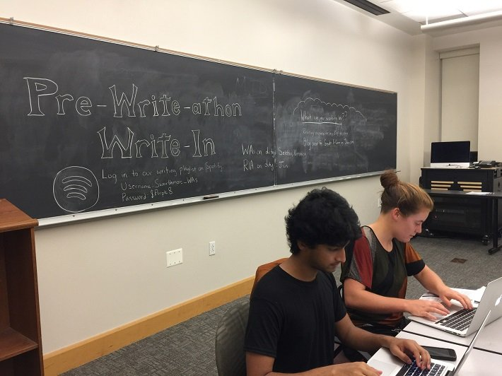 Students hang out at the first write-in of the semester, the Pre-Write-Athon