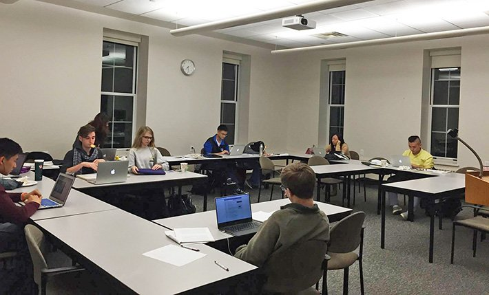 Photo of students working in a classroom during the Fall 2015 International Write-in