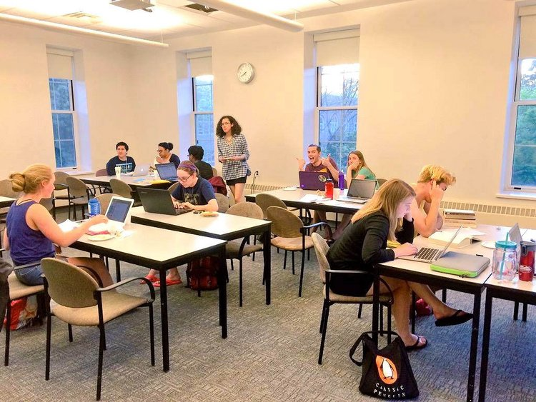 A classroom full of students writing on their laptops at the Spring 2015 International Write-In