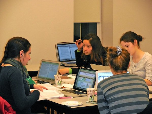 Students working together at the National Write-In