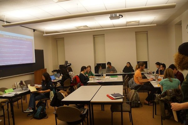 Photo of a Trotter Hall classroom filled with students writing during the Winter 2014 National Write-In