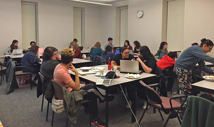 Photo of a classroom full of students at the Fall 2015 International Write-In