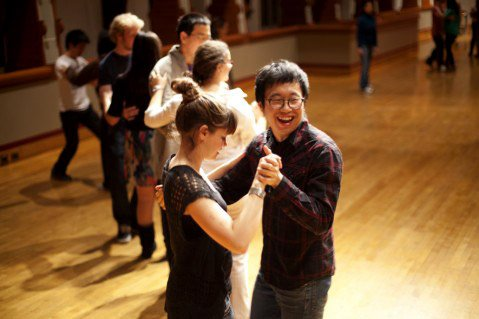 Becky Griest '15 and Simon Sung Min Ma '12 participate in waltz lessons before the ball