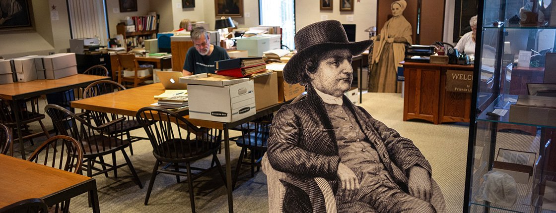 Cutout of Quaker in Friends Historical Library