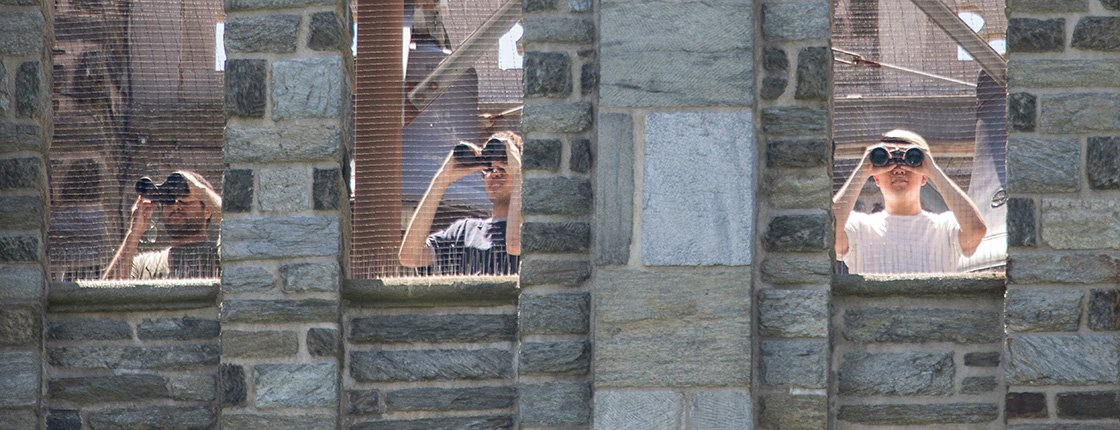 Students look out from Bell Tower