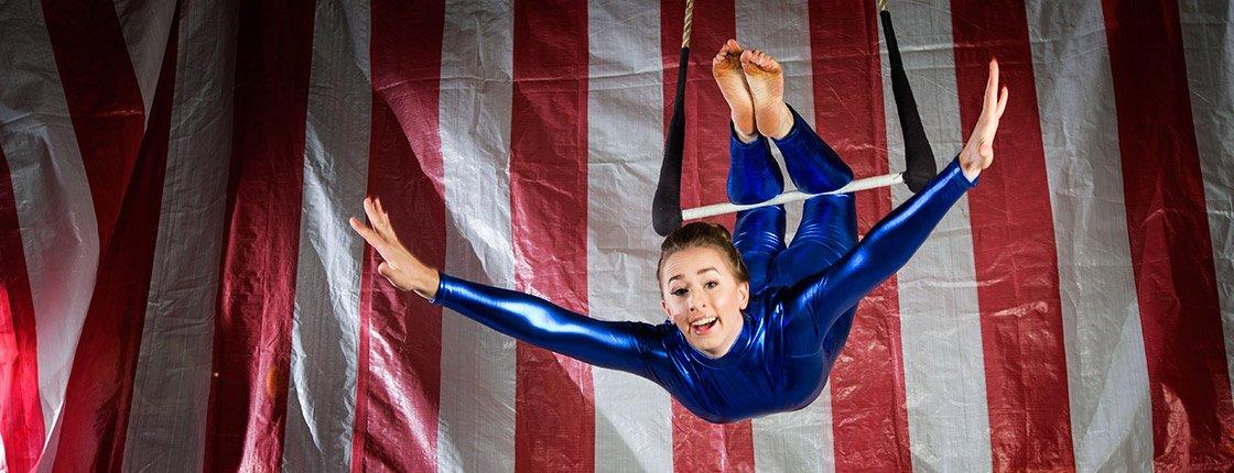 Joanna Wright '08 on the trapeze